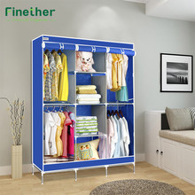 Finether Double Modular Metal Framed Fabric Wardrobe Clothes Closet Portable Wardrobe Clothes Storage Organizer Hang Simple(China)