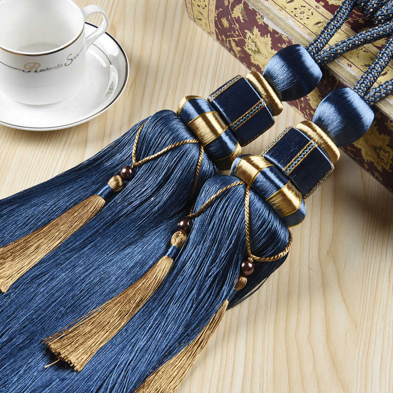 Europe Luxury High Quality Curtain Tiebacks Living Room Grey Curtain Holder Home Decoration Curtain Tassel Accessories CP071-30