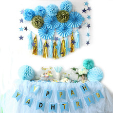 Luxury Birthday Party Hanging Paper Decoration Kit Banner Polka Dots Paper Fan Rosettes Pom Poms Cake Toppers Tassel Garland(China)
