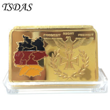 New Germany .999 Gold Bullion Bar 24k Gold Plated German Territory Painted Bullion Bar Free shipping