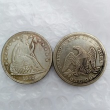 1842 Seated Liberty Silver Dollars One Dollar Coins Retail(China)
