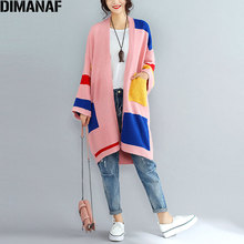 DIMANAF Women Sweater European Plus Size Patchwork Color Cardigan Autumn Loose Casual Female 2017 Knitting Pink Fashion Cardigan