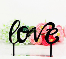 Free Shipping Sweet Love Cake Topper Monogram Cake Topper Black Acrylic Cake Topper Wedding Cake Top Stand Decorations