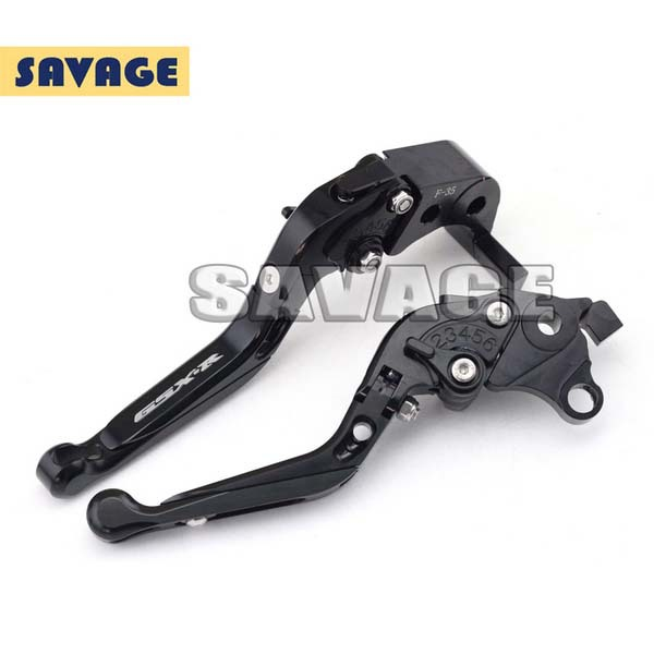 Motorcycle CNC Aluminum Folding Extendable Brake Clutch Levers logo GSX-R For SUZUKI GSX-R 1000 2007-2008 Black<br>