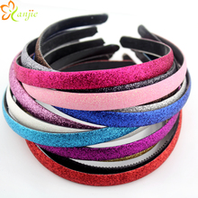 13colors 60pcs/lot Glitter Girls Hair Clasp Headband For Women Plastic Non-slip Glitter Hair Band 1.2cm Hair Band Head Hoop