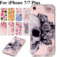 For iPhon 7 Case Cute Bear Pulm Skull Macaron Pikachu Clear TPU Phone Cases Cover sFor iPhone 7 Plus Back Cover Soft Phone Bags