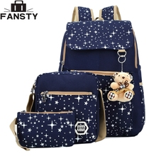 2016 Summer New Women Canvas Backpack Starry Sky Printing Students Bag 3 Pcs School Bag Set for Younth Girls with Two Purse Bear