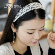 FANHUA Elastic Ribbon Black Beige Lace With Simulated Pearl Classic Designer Headbands Brief Hair Jewelry Hairwear For Women(China)