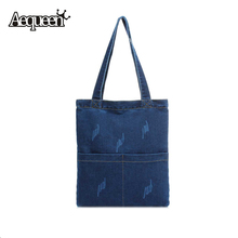 Large Capacity Women Handbags Denim Shoulder Bags Daily Simple Design Bag Jean Fabric Summer Sping Style Casual Totes