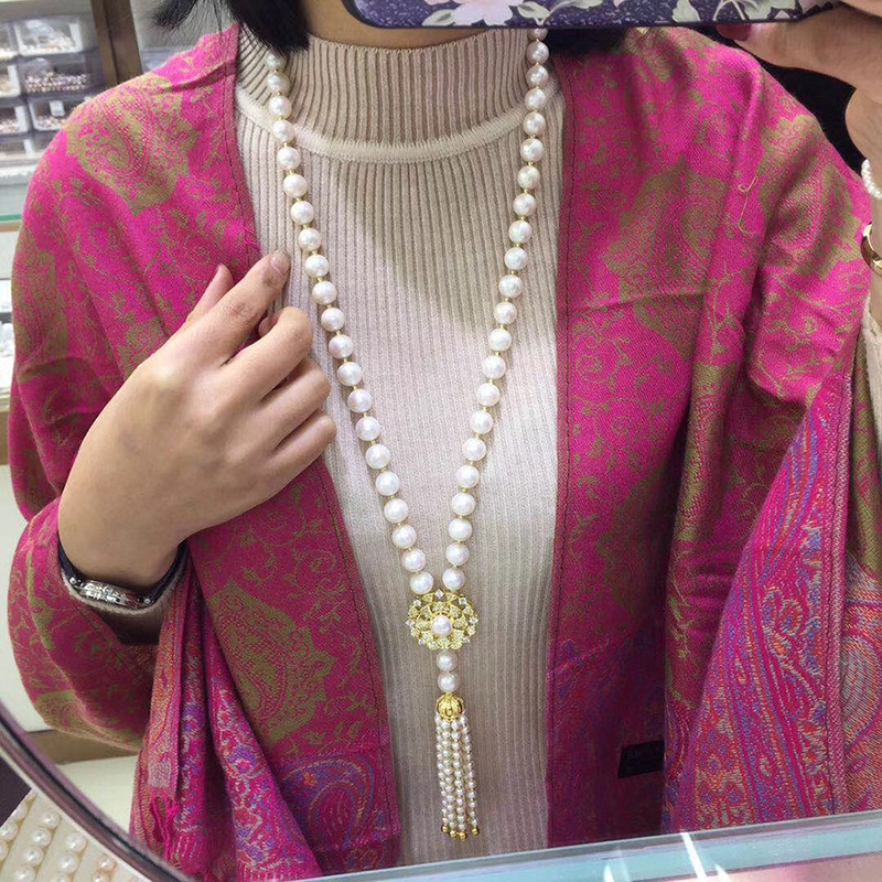 Sinya Tassels fashion Sweater chain Natural pearls Strand long necklace for Women Mum lover gold or white gold color optional (3)