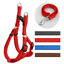 2.0 cm Width Adjustable Nylon Dog Pet Harness & Walking Leash Set Polka Dot Harnesses With Leads 4 Colors