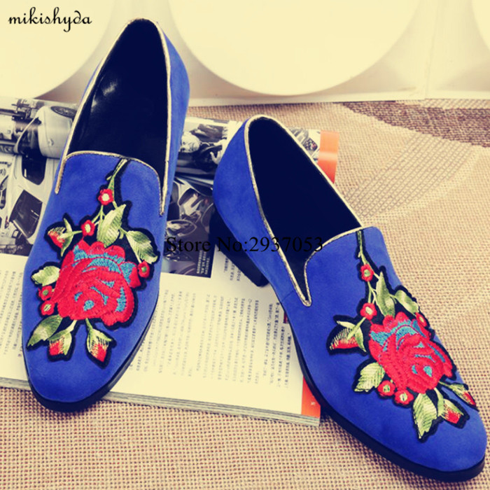 2017 Newest Designs France Brand Suede Blue Mens Dress Shoes Red Bottom Loafers Shoes With Embroidery Flower(China (Mainland))