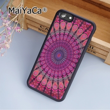 MaiYaCa Turquoise Mandala x Lace Wood Printed Soft Rubber cell phone Case Cover for iPhone 5 5S SE phone cover shell(China)