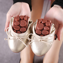 Brand designer woman shoes sanglaide foldable ballets flats bow-knot omelet shoes gold loafers portable travel fold up lady flat