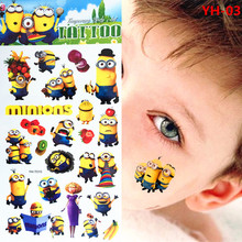 Movie Minions Toy Despicable Me Temporary Tattoo Kids  Children Cartoon Sticker Flash Body Art FREE SHIPPING