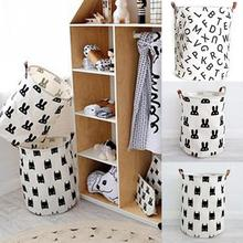 Rabbits Letters Bats Pattern Practical Popular Baby Children Toy Clothes Canvas Shopping Bag Folding Basket Style Storage Bag