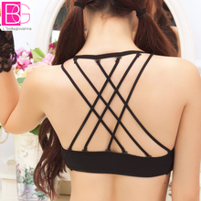 Fashion B CUP Spaghetti Beauty Back Young Women's Bra Removable Strips Back Cross Floral Mesh Sexy Female Intimates Underwear(China)