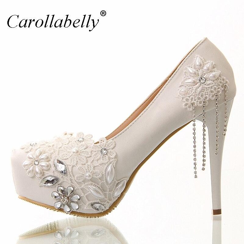 8cm/12cm/10cm/14cm White rhinestone lace flowers bridal shoes high heel and platform with rhinestone tassels wedding shoes<br>