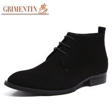GRIMENTIN brand classic mens dress boots genuine nubuck leather lace up black formal business wedding male boots men shoes bo285