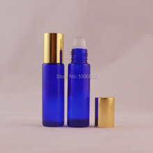 10ML Blue Glass Frosted Perfume Roller Roll on Bottle Parfum Ball Vials Portable Sample bottle Empty Refillable Bottle 50pcs/Lot(China)