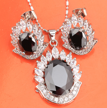 Attractive Oval Black Onyx Fashion Silver Jewelry Sets Earrings Pendant For Women S8273