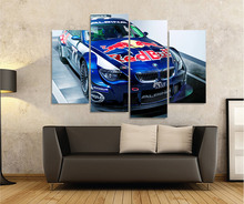 HD Printed BMW Blue Racing Picture 4pcs Painting Wall Art Room Decor Print Poster Canvas Art for Living Room Decoration XA371C