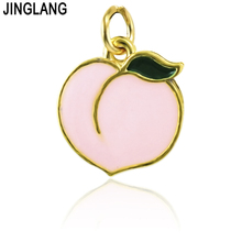JINGLANG 20pieces/Lot Bulk Charms Gold Color Metal Pink Enamel Peach Fruits Charms For Necklace Jewelry Making DIY Accessories(China)