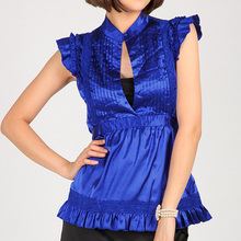Womens New star style stand collar pleated Blouses shirts For Ladies Purple Fashion design lace decoration Short Sleeve tops S-L