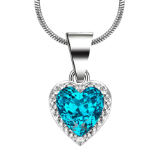 Fashion Classic Sky Blue Heart Jewelry Silver Color wedding Gift For Women Ocean Love Necklace Pendant Engagement