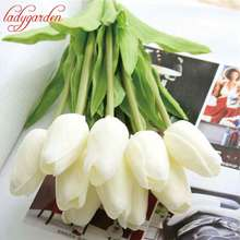 Artificial Tulips Fake Flowers PU Flores Artificiales Para Decora O Mini Tulip for Home Wedding Decoration Cheap Flower 1PC(China)