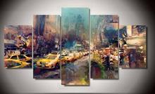 5 Piece Framed Printed new york city Painting on canvas room decoration print poster picture canvas modern abstract wall art