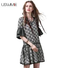 2017 Summer Women Dresses New Fashion Simple Joker V-neck Flare Sleeve Printing Vintage Dress Corrugated Edge Vestidos A8222(China)