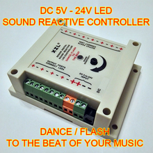 High Power 5-24V Sound Reactive digital LED controller. Dance / Flash to the beat of your music. Sound to Light for LED strips(China)