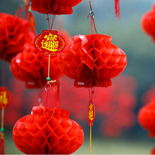 10cs/lot Chinese Traditional Red Paper Lantern For 2017 New Year Christmas Decoration Hang Waterproof Festival Lanterns