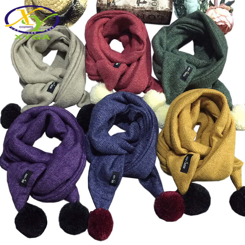 1PC 2017 Winter Children's Cotton Woll Triangle Scarf Boys Girls Cute Small Scarves Child Baby Kids Soft Viscose Scarf /XY