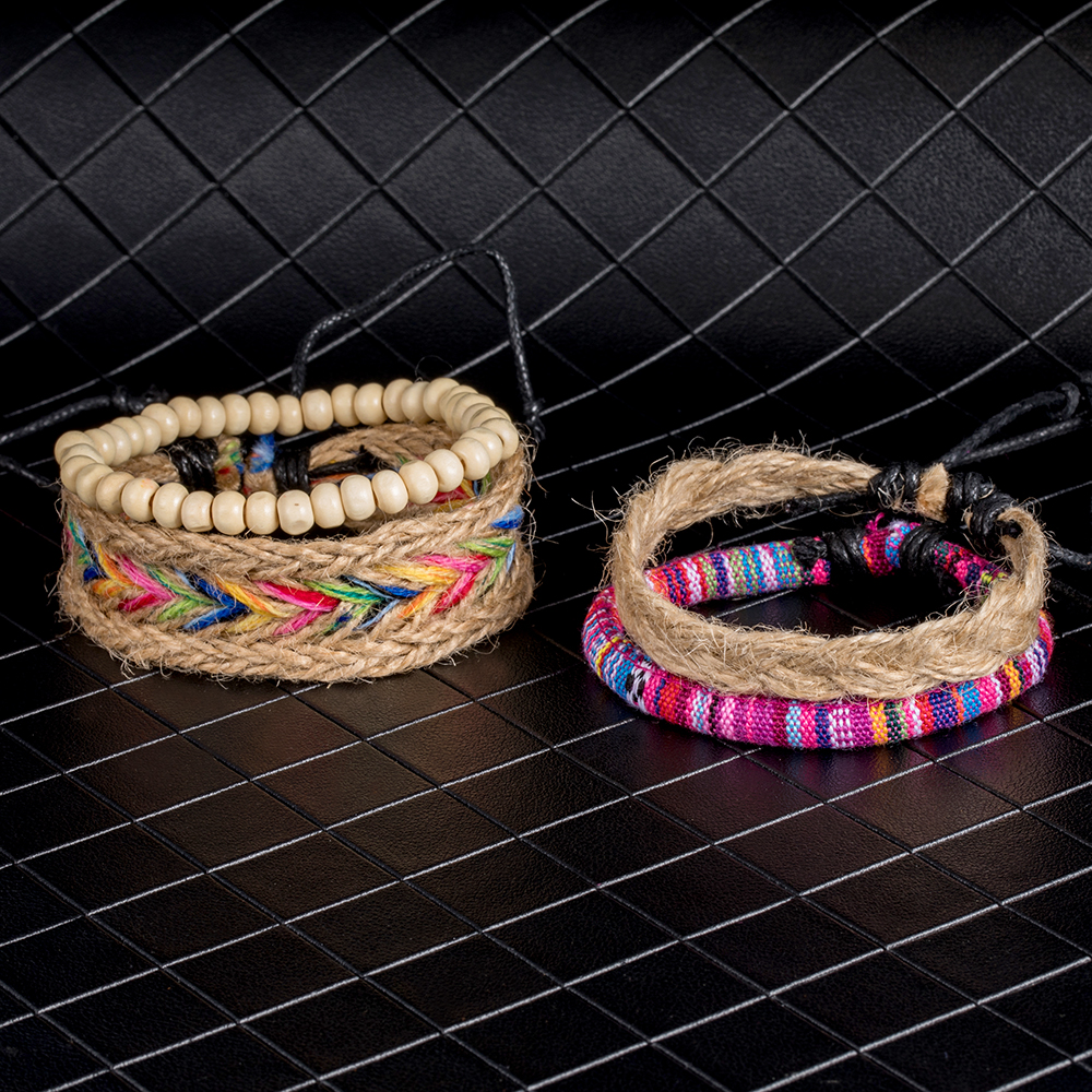 IPARAM 4PCS / Set color ethnic handmade hemp woven bracelet hippie Bohemian embroidery cotton friendship bracelet 9