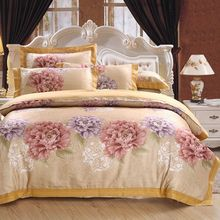 Brand Luxury jacquard bed linen satin 4pcs 100%cotton satin bedding set duvet cover set King Size