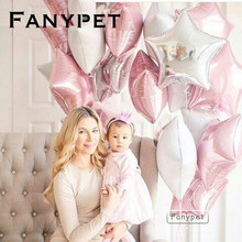 12PCS Baby Shower 18 inch pink white star helium foil Balloons Girls Birthday Party Supplies 1st Party Decor Pure color globos(China)