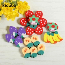 KIcute 50Pcs/pack Excellent Quality Fruit Design Rubber Eraser Pencil School Stationery Kid Children Gift Toy(China)