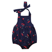 Infant Baby Girl Romper Cotton Dress Climb Clothes Cherry Clothes Jumpsuit lot Toddler Girls Summer Print Sleeveless Sunsuits(China)