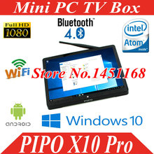 Mini PC PIPO X10 Pro Intel Cherry Z8350 Quad Core Windows10/Android 5.1 TV BOX 4GB/64GB 10.8 inch 10000mAh Wifi BT Computer PC