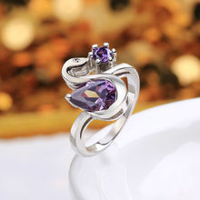 New Arrival Beautiful Swan Rings For Women Luxury  White Gold Ring Fashion Purple Crystal Ring For Women US Size 7 8 FVR016