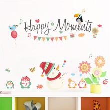 Happy Moments Snowman Wall sticker Decals Window Party Store Christmas decoration new year home decor Poster Mural(China)