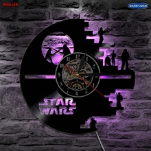Star Wars Wall Clock Vinyl Led Wall Lighting Color Changing Vintage LP Record Clock Decor Handmade LED Light Home Decorative(China)