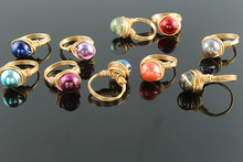 Ring circle colorful glass stone Bead ring Handmade wire wrapped ring exquisite vintage stackable promise ring  Christmas gifts