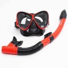 Summer Diving Glasses Goggles with Breathing Tube Tempered Glass Full Dry Diving Swimming Snorkeling Mask(China)