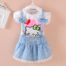 1-5T new 2017 summer kids princess girl hello kitty t-shirt & bowknot suspender jumper skirt children 2-pieces clothes set(China)