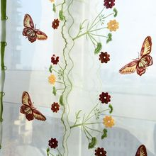 Butterfly Tulle Curtain For Windows Roman Shades Blinds Embroidered Sheer Curtains Kitchen Living Room