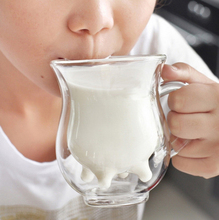Novelty  Drinkware Glass Milk Cows Cups 240 ml  Double Heat-resistant Glass Drink Cups Water/tea Mug