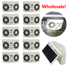 2017! Wholesale Price 10 PCS Solar Sun Power Car Auto Air Vent Cool Fan Cooler Ventilation System Radiator battery Air Purifiers(China)